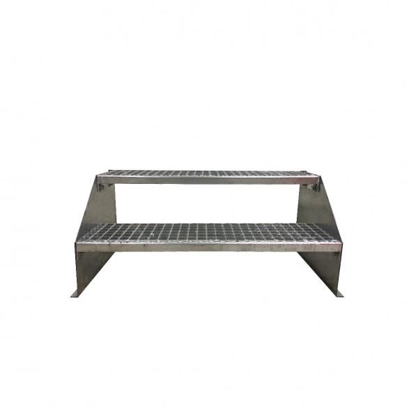 2-stufige Stahltreppe freistehend / Standtreppe / Breite 60 cm / Höhe 42 cm / Verzinkt