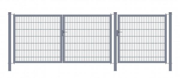 Gartentor Classic Strong (3-flügelig) symmetrisch (1,25|1,25|1,25); Anthrazit 6/5/6 mm Doppelstabmatte; Gesamtbreite 375 cm Höhe 80 cm