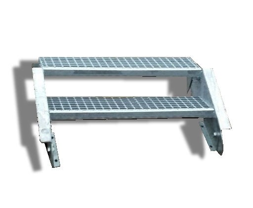 2-stufige Stahltreppe / Breite: 140 cm / Wangentreppe / Gitterrosttreppe mit 2 Stufen