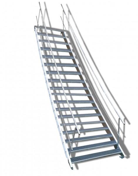 18-stufige Stahltreppe mit beidseitigem Geländer / Breite: 140 cm / Wangentreppe mit 18 Stufen