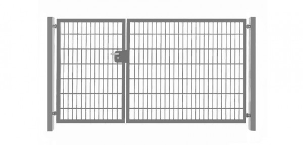 Einfahrtstor Basic (2-flügelig) asymmetrisch ; Verzinkt Doppelstabmatte; Breite 400 cm x Höhe 203cm