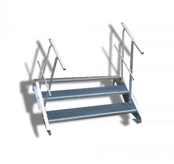 3-stufige Stahltreppe mit beidseitigem Geländer / Breite: 60 cm / Wangentreppe mit 3 Stufen