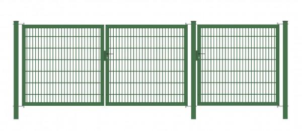 Gartentor Classic Strong (3-flügelig) symmetrisch (1,25|1,25|1,25); Grün 6/5/6 mm Doppelstabmatte; Gesamtbreite 375 cm Höhe 100 cm