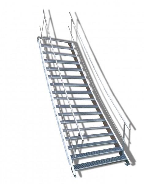 17-stufige Stahltreppe mit beidseitigem Geländer / Breite: 130 cm / Wangentreppe mit 17 Stufen