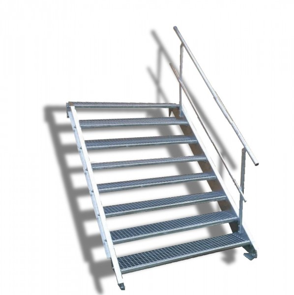 8-stufige Stahltreppe mit einseitigem Geländer / Breite: 160 cm / Wangentreppe mit 8 Stufen