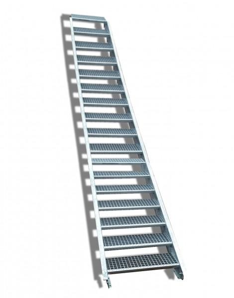 17-stufige Stahltreppe / Breite: 160 cm / Wangentreppe / Gitterrosttreppe mit 17 Stufen