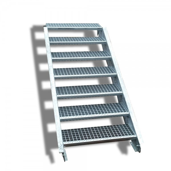 7-stufige Stahltreppe / Breite: 140 cm / Wangentreppe / Gitterrosttreppe mit 7 Stufen