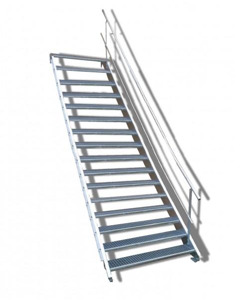 16-stufige Stahltreppe mit einseitigem Geländer / Breite: 150 cm / Wangentreppe mit 16 Stufen