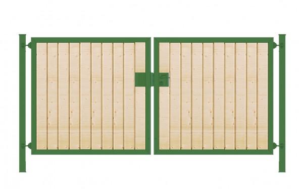 Einfahrtstor Premium (2-flügelig) mit Holzfüllung senkrecht; symmetrisch; grün; B:200 cm H:100 cm