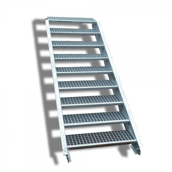 9-stufige Stahltreppe / Breite: 90 cm / Wangentreppe / Gitterrosttreppe mit 9 Stufen