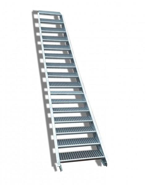16-stufige Stahltreppe / Breite: 130 cm / Wangentreppe / Gitterrosttreppe mit 16 Stufen