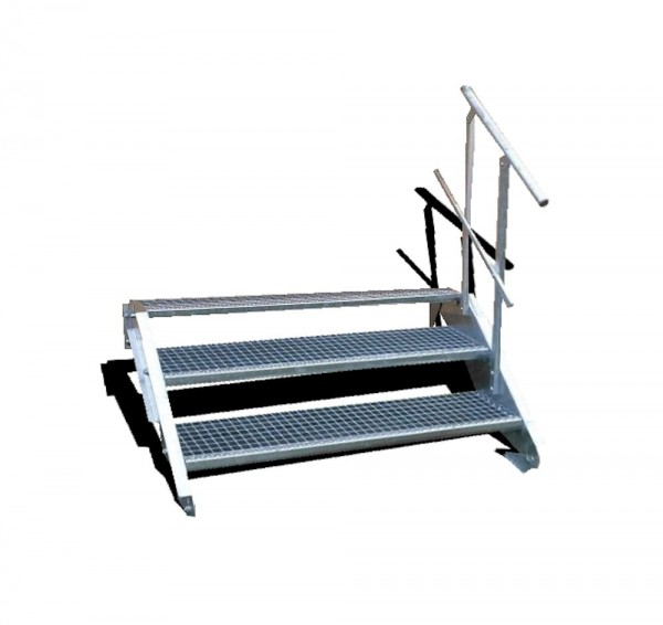 3-stufige Stahltreppe mit einseitigem Geländer / Breite: 160 cm / Wangentreppe mit 3 Stufen