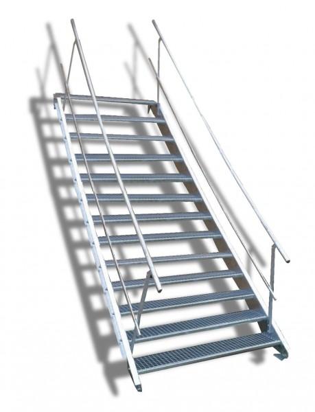 13-stufige Stahltreppe mit beidseitigem Geländer / Breite: 140 cm / Wangentreppe mit 13 Stufen