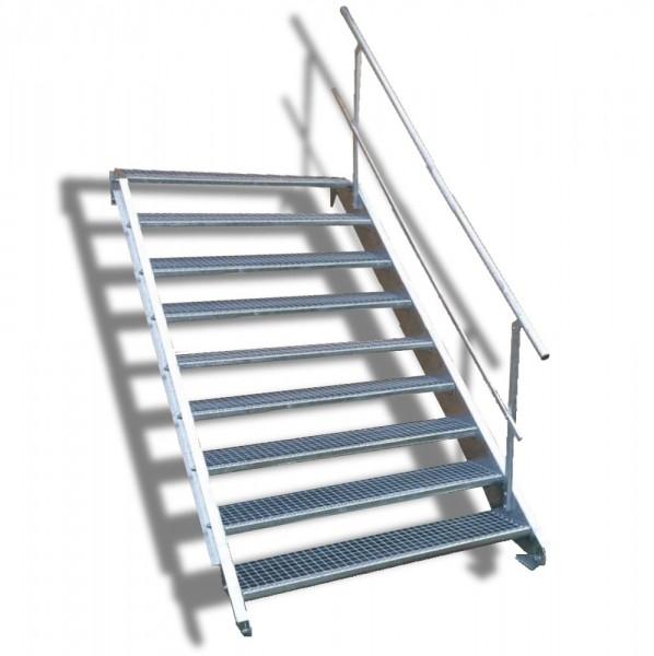 9-stufige Stahltreppe mit einseitigem Geländer / Breite: 150 cm / Wangentreppe mit 9 Stufen