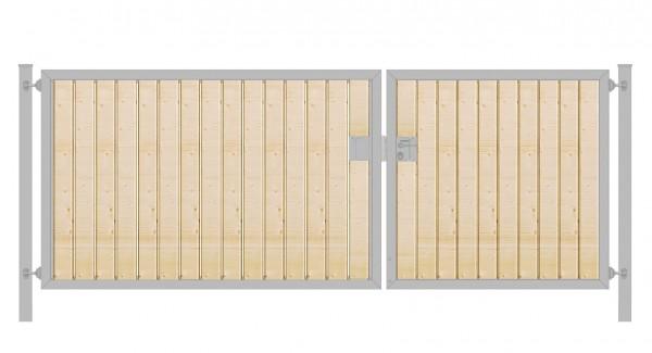Einfahrtstor Premium (2-flügelig) mit Holzfüllung senkrecht; asymmetrisch; verzinkt; B:300 cm H:100 cm