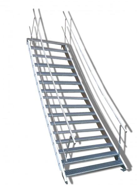 16-stufige Stahltreppe mit beidseitigem Geländer / Breite: 130 cm / Wangentreppe mit 16 Stufen