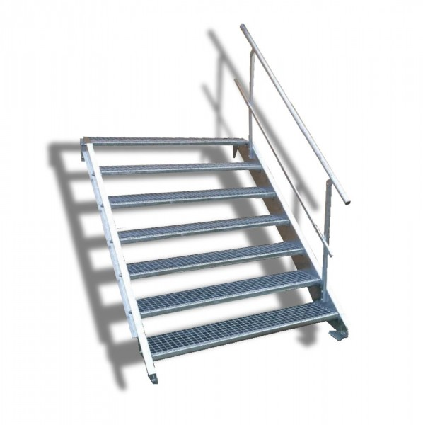 7-stufige Stahltreppe mit einseitigem Geländer / Breite: 150 cm / Wangentreppe mit 7 Stufen