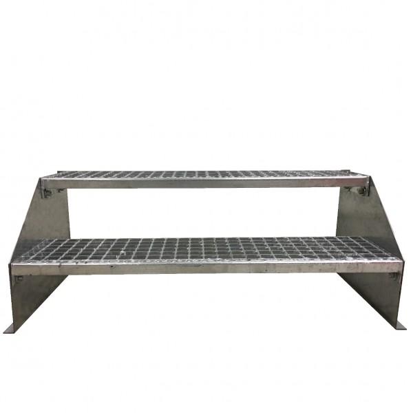 2-stufige Stahltreppe freistehend / Standtreppe / Breite 140 cm / Höhe 42 cm / Verzinkt