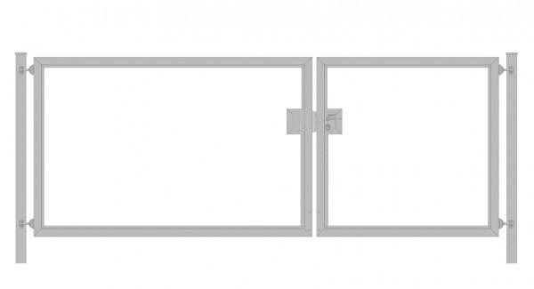 Einfahrtstor Premium (2-flügelig) asymmetrisch für waagerechte Holzfüllung; Verzinkt; Breite 250 cm x Höhe 100cm